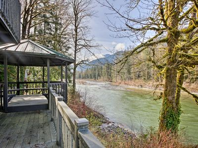 Photo for NEW! Riverfront Gold Bar Cabin w/Deck & Mtn Views!