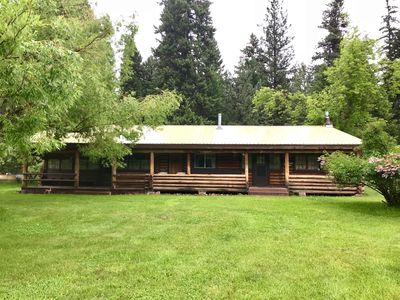 Photo for Log cabin with lake access in beautiful forested setting
