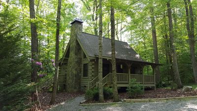 Photo for Crazy Wolf is a cozy 2 bedroom cabin close to the heart of Maggie Valley, Hot Tub, WiFi, AC.