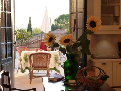 Photo for Appart (s) OLIVIERS in farmhouse, terrace, garden, park, swimming pool, parking, Lourmarin