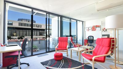 A sea view from every point at StayCentral Serviced Port Melbourne apartment.