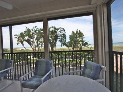 Screened in Private Patio thats seats 4-6 with Amazing View of the Gulf