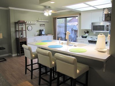 Open living area with kitchen island