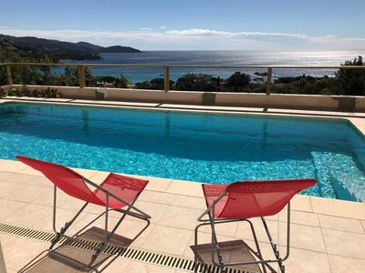 Photo for Exceptional sea view 5 minutes walk from the beach.