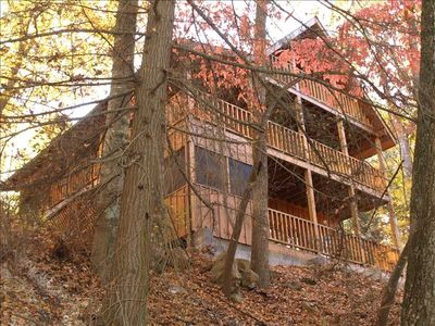 Back of Cabin with complete privacy and screened in hot tub, 2 rear decks