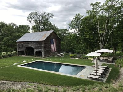 Swimming pool and 1700's barn