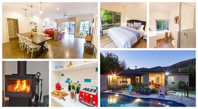 5 ensuite bedrooms, pool, fire enormous light filled living spaces.  Everything