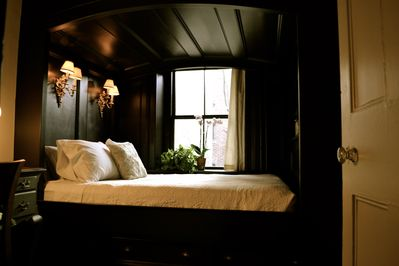 Bedroom; queen sized bed; plush-firm BeautyRest mattress; down pillows