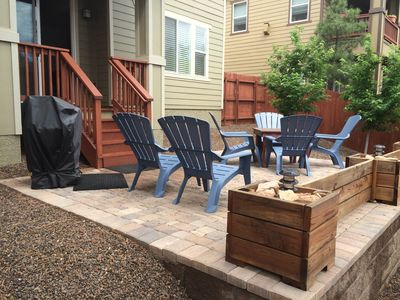 backyard patio, grill, and deck.