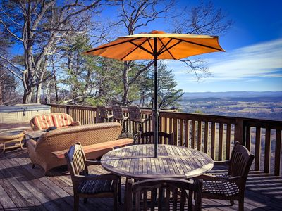 Take it all in while relaxing by the fire pit or taking a soak in the hot tub