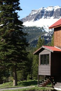 View of Ampitheater peak from the front of cabin