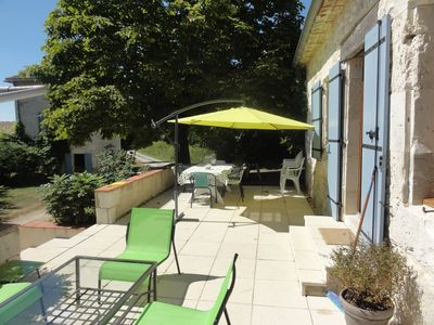 The Farmhouse; terrace with dining area and BBQ
