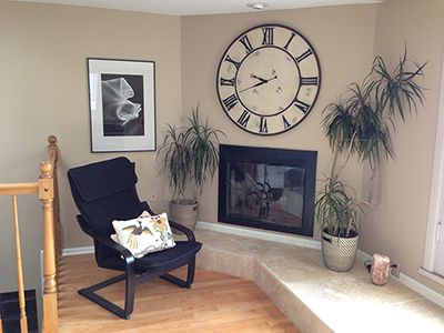 Alcove by fireplace