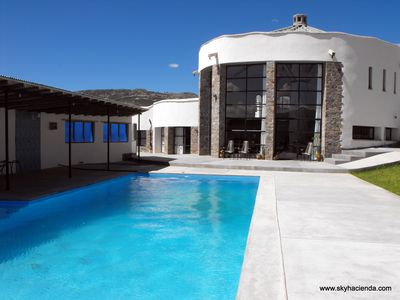 Sky Hacienda Boutique Hotel showing the 56 ft long heated pool.