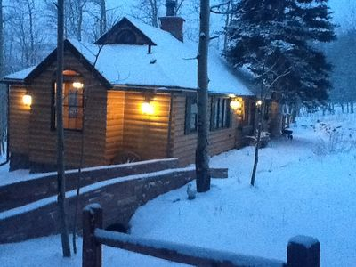 Photo for DISCOUNT Oct, Nov, Dec —Enchanting 4 bdr log cabin on  wooded lot with free wifi