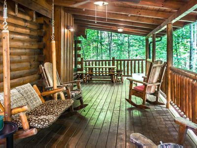 Photo for Private cabin with hot tub, pool table, fire-pit, and free passes to local attractions.