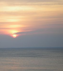 Sunrise over the Chesapeake.  180-degree full view of the water.