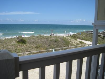 a beautiful day at the beach, even from the deck