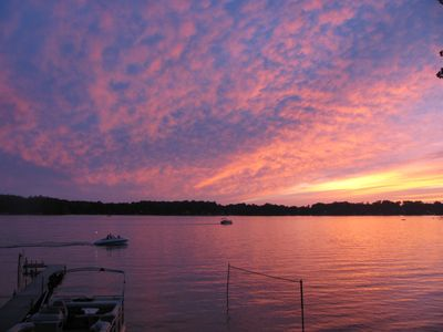 Photo for Enjoy magical sunsets from deck on Lake Cora home less than 2 hours from Chicago