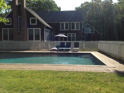 Gunite, Heated, Salt Water Pool with several porch/lounge areas and  grass!