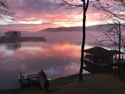 Photo for Lakefront with Amazing Mountain and Lake Views, Docks, Fire Pit, Kayaks and More