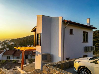 View of our villa from the road - take advantage of the car park
