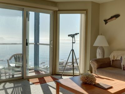 Photo for Breathtaking views from this 2nd level bay front condo in Lincoln City!