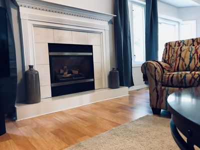 Recline in these chairs and enjoy the gas fireplace or watch TV