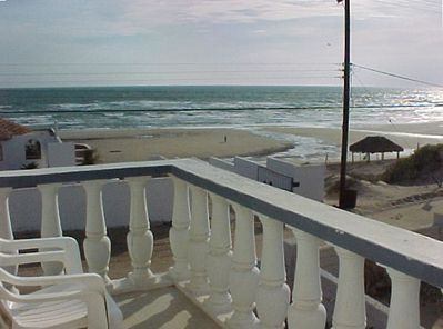 View of the beach from side deck