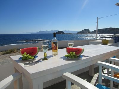 Our veranda in front of the Aegean Sea