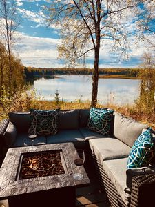 15 acre lake front log cabin including boats,sauna,fire pits,trails,fishing gear