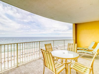 Photo for Gulf front condo w/ a huge private balcony, beach access, pool, & spa!