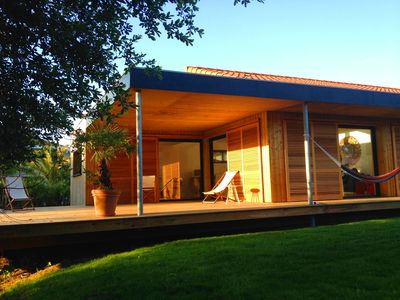 Photo for Wooden house, 130m2, 3 bedrooms + 1 mezzanine on 1000m2 of land, Wi-fi
