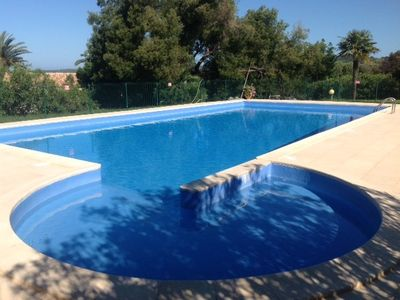 Photo for mini-villa 400m from the beach, with large terrace, pool and sea view
