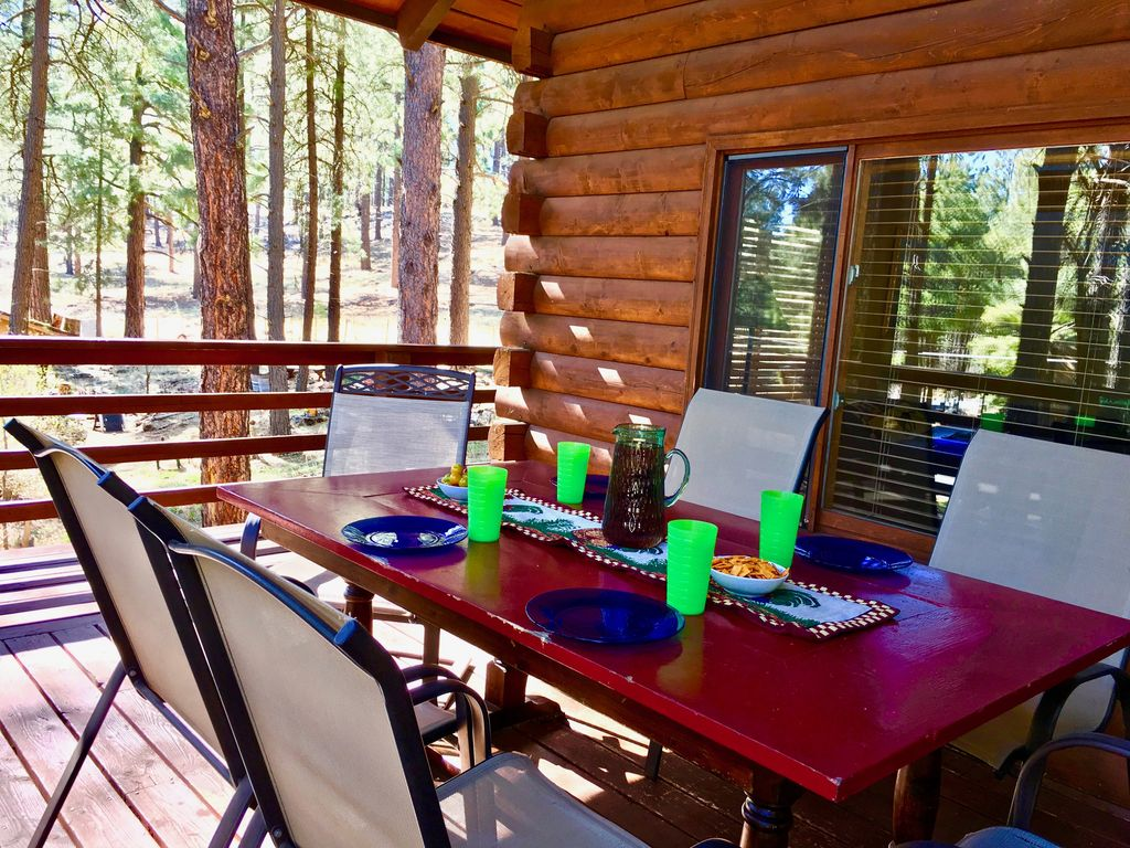 rentals in flagstaff white show cabin peaceful mountain low arizona pines deck cabins
