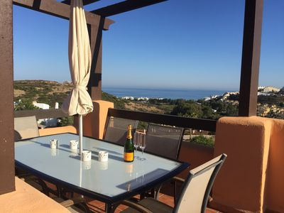 Photo for Sea View Penthouse apartment, close to beach with free fibre optic WiFi