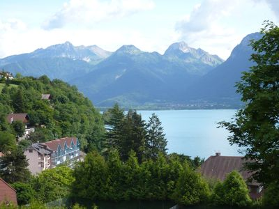Photo for Spacious apartment in the heart of Talloires. Beautiful mountain and lake view. Terrace.