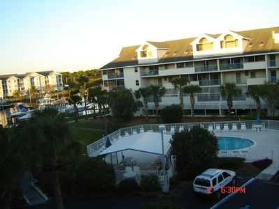 Your on the top floor, condo has pool and boat slip