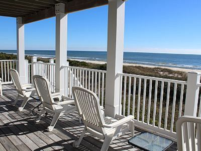 Photo for Sleeps 14. BEACHFRONT 5br 6ba Elevator, Hot Tub Spa gym tennis🐬 fishing