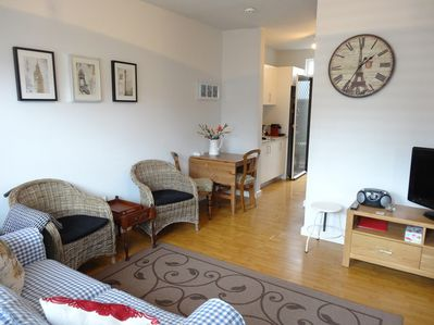Ground floor apartment with private/secure courtyards and free parking