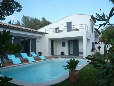 Photo for New standing villa, 100m beach, well-kept decor, large garden, 4 bedrooms, 3 bathrooms