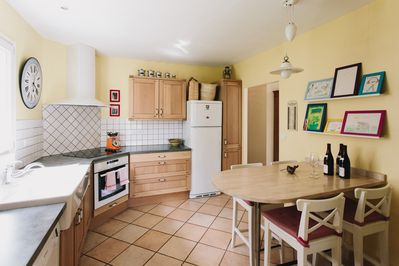 A french country kitchen to cook meals with the delicious local ingredients.