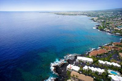 Located on a Lava Rock point (red arrow), just a 15 minute walk to Kailua-Kona!
