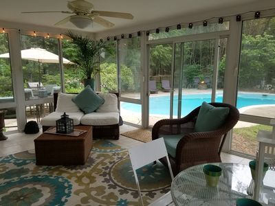 Photo for Gourmet kitchen, hardwood floors, 4 Seasons room with heat and AC overlooking private fenced backyard with beautiful pool, gas fire pit, gas grill, patio area
