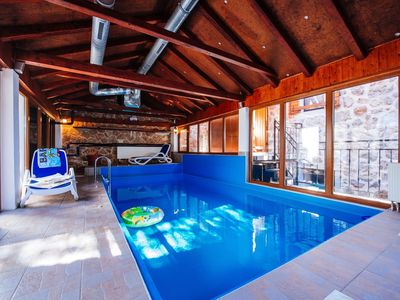 Photo for Traditional stone house with interiour pool, sauna, garden, terrace with BBQ