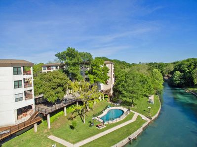 Inverness Condos are Perched Alongside the Clear Comal River