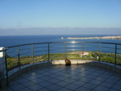 Photo for house-apartments ground floor panoramic view of sea and fortress above ground pool