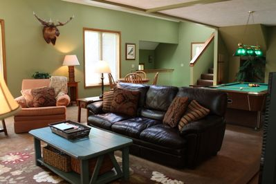 Living Room-Television, DVD,  Card Table, and Pool Table