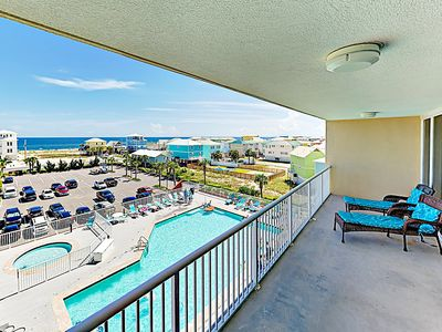 Photo for New Listing! Waterfront Gem by Lagoon w/ Pool & Gulf Views - Walk to Beach