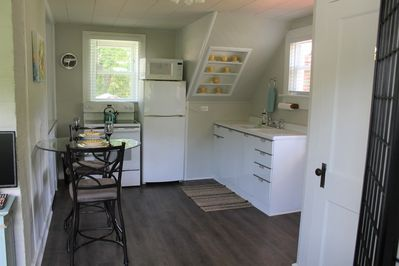 The kitchen offers lots of space to move around in while cooking.